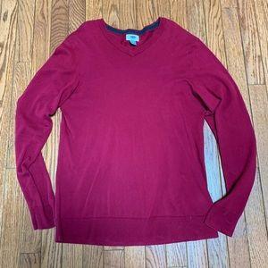 Brand new red men's v neck sweater